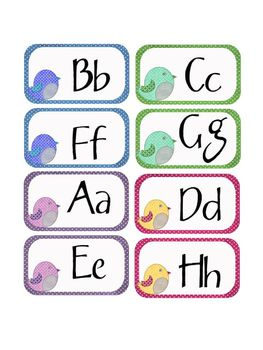 Birdy Word Wall Labels