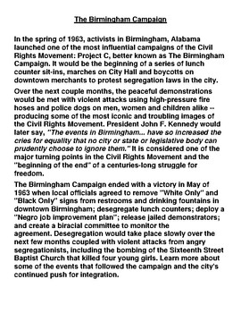 Birmingham Campaign Article and Summary Assignment