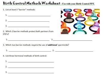 Birth Control Methods PPT Worksheet
