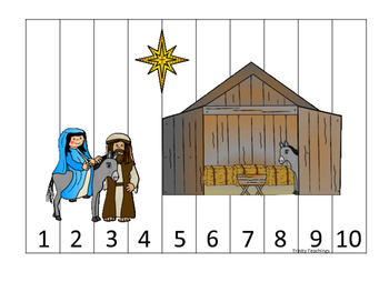 Birth of Jesus 1-10 Number Sequence Puzzle activity. Preschool Bible History Cur