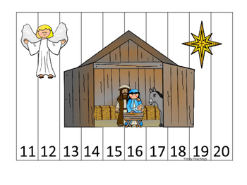 Birth of Jesus 11-20 Number Sequence Puzzle activity. Preschool Bible History Cu