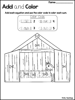 Birth of Jesus Add and Color Worksheets. Preschool-Kindergarten Bible Study
