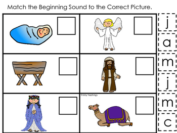Birth of Jesus Beginning Sound Game. Preschool Bible History Curriculum Studies.