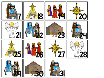 Birth of Jesus Calendar pieces. Preschool-KDG Bible bulletin board.