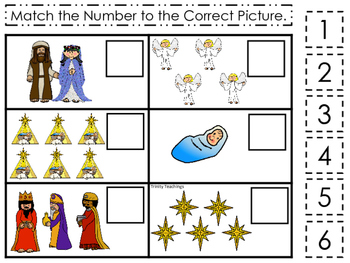 Birth of Jesus Match the Number Game. Preschool Bible History Curriculum Studies