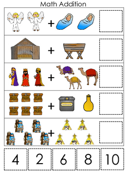 Birth of Jesus Math Addition Game. Preschool Bible History Curriculum Studies