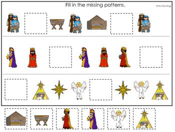 Birth of Jesus Missing Pattern. Preschool Bible History Curriculum Studies.
