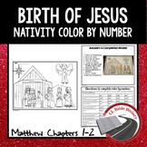 Birth of Jesus Nativity Color By Number (Bible Matthew Ch. 1-2) Christmas Story