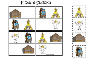 Birth of Jesus Picture Sudoku. Preschool Bible History Curriculum Studies.