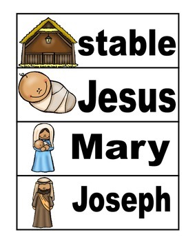 Birth of Jesus Pocket Chart Word Wall Freebie
