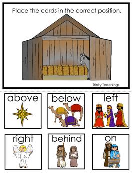 Birth of Jesus Positional Game. Preschool Bible History Curriculum Studies.