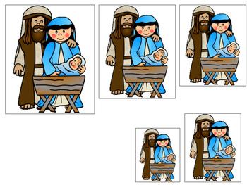 Birth of Jesus Size Sequence. Preschool Bible History Curriculum Studies.