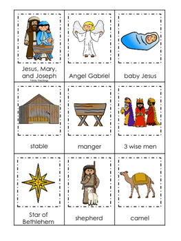 Birth of Jesus printable 3 Part Matching game.  Christian Preschool Curriculum