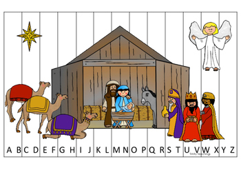 Birth of Jesus printable Alphabet Sequence Puzzle game. Christian Curriculum