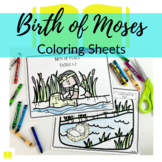 Birth of Moses Coloring Sheets for Sunday School or Homeschool