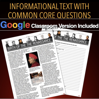 Birth of the Renaissance Informational Text (Italian Renaissance)