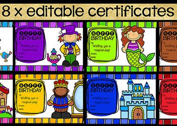 Birthday Display Certificates and Bookmarks