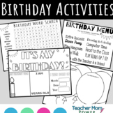 Birthday Activities Birthday Menu, Coloring, & Word Search