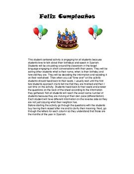 Birthday Activity: Spanish speaking and Writing