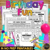 Birthday Activity Book No Prep Worksheets Packet with Headband