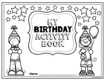 Birthday Activity Book No Prep Worksheets Packet with Headband