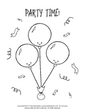 Birthday Activity Sheets - 3 Coloring Pages & 2 Worksheets