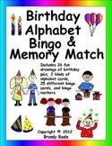 Birthday Alphabet Bingo and Memory Match - 26 fun drawings - preK to 2nd