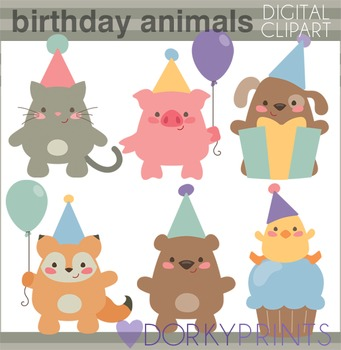 Birthday Animals Digital Clip Art