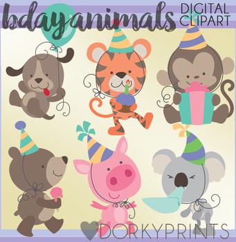 Birthday Animals Digital Clip Art