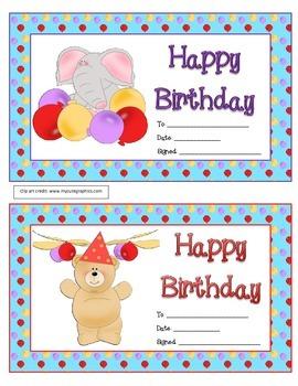 Birthday Awards from the Teacher