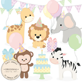 Birthday Baby Party Animals Clipart & Vector Set - Birthday Clip Art