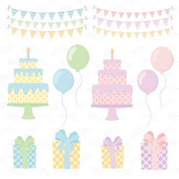 Birthday Baby Party Animals Clipart & Vector Set - Birthday Clip Art