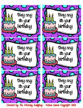 Birthday Bag/Cup Labels (purple)