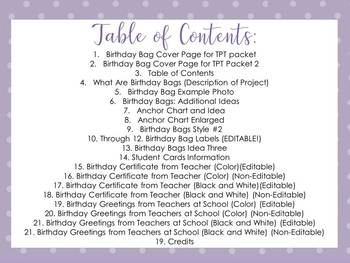 Birthday Bags: A Super Easy First Week of School Activity! EDITABLE Templates!