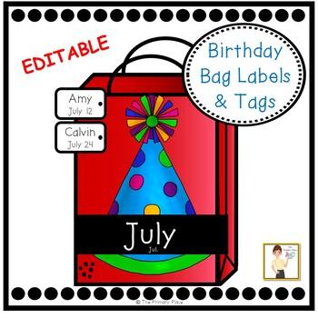Birthday Bags Editable Labels