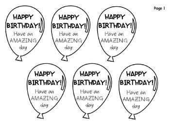 Birthday Balloon Gift Tags