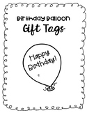 Birthday Balloon Gift Tags