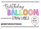 Birthday Balloon Straw Labels FREEBIE