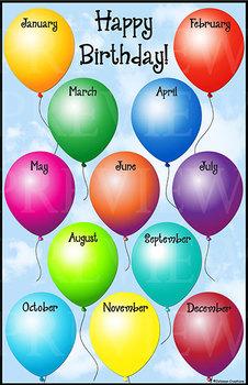 "Birthday Balloons 11"" x 17"" Chart"