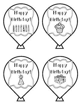 Birthday Balloons BW