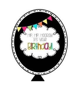 Birthday Balloons - Black with Bright Pennants