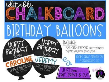 Birthday Balloons (Chalkboard & Editable)