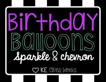 Birthday Balloons - Chevron Sparkle