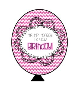 Birthday Balloons - Chevron Sparkle