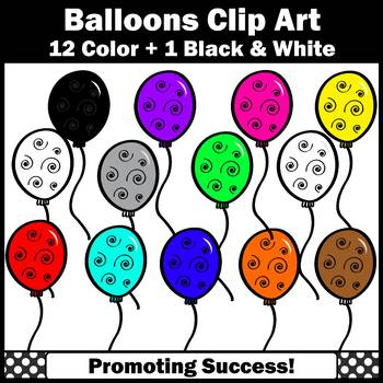 Birthday Party Balloons Clipart Primary Colors SPS