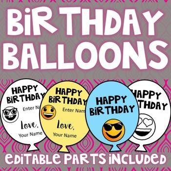 Birthday Balloons (Editable)