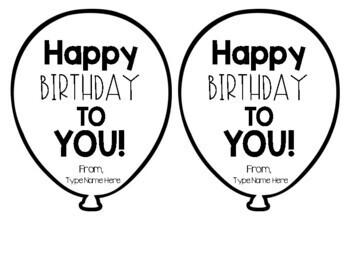 Birthday Balloons Editable