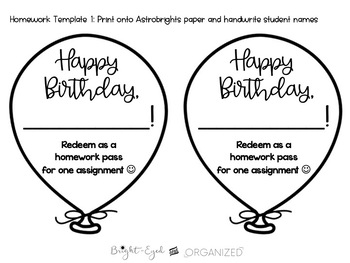 Birthday Balloons Homework Pass 5 options! {Fully Editable}