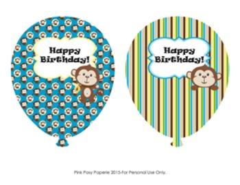 Birthday Balloons  Monkey Theme (4 different designs)