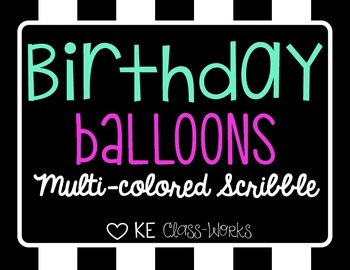 Birthday Balloons - Multi-Colored Scribble